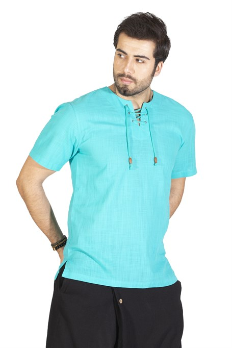 Short Sleeve Studded T-Shirt  Turquoise