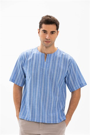 Sile Fabric Plus Size Mens Short Sleeve Crew Neck Striped T-Shirt Blue-White