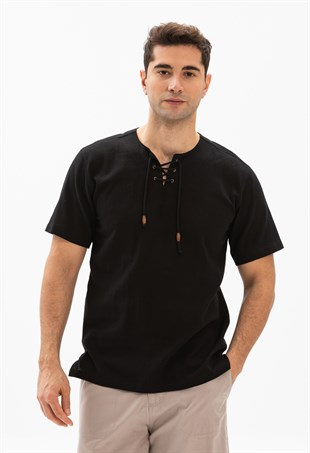 Large Size Short Sleeve Studded T-Shirt  Black