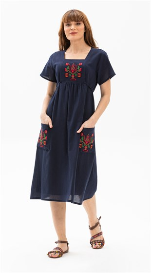Plus Size Melek Dress Navy Blue