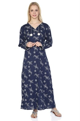Plus Size Long Sleeve Printed Dress Sprinkle Pattern Navy Blue