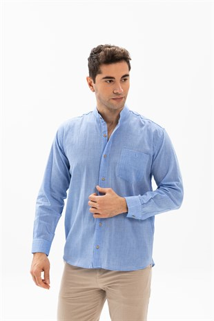 Sile Fabric Plus Size Mens Long Sleeve Grandad Collar Shirt Blue