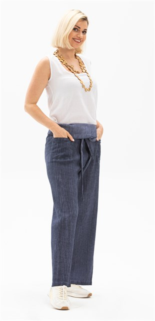 Flannelette Pleated Culottes Navy Blue