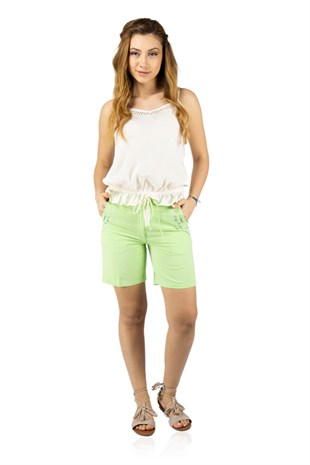 Embroidered Womens Shorts Pistachio Green