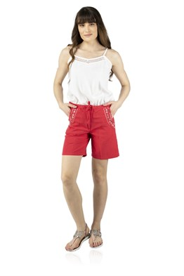 Embroidered Womens Shorts Red