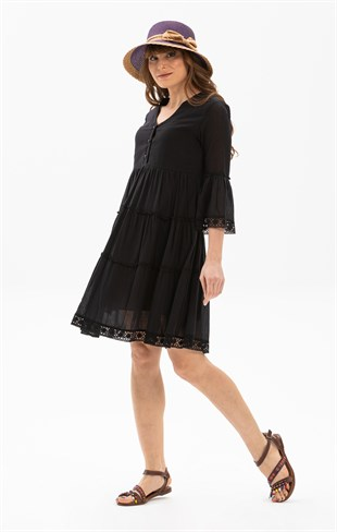 Şeyma Short Dress Black
