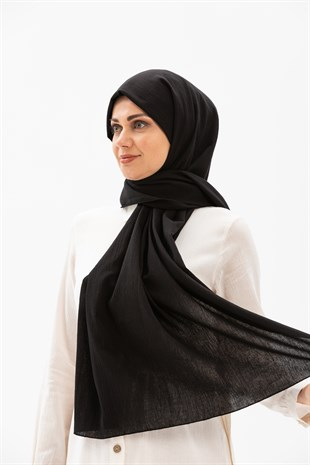 Sile Fabric Shawl Black