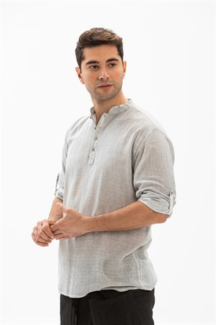 Sile Fabric Bodrum Mens Long Sleeve T-Shirt Stone