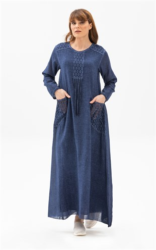 Long Sleeve Mystery Dress Indigo