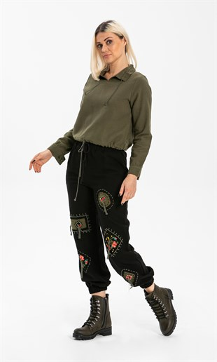 Patched Trousers Black